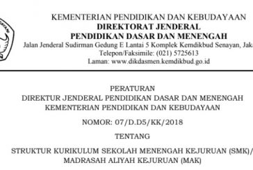 Perdirjen Dikdasmen No. 07/D.D5/KK/2018 (Struktur Kurikulum SMK)
